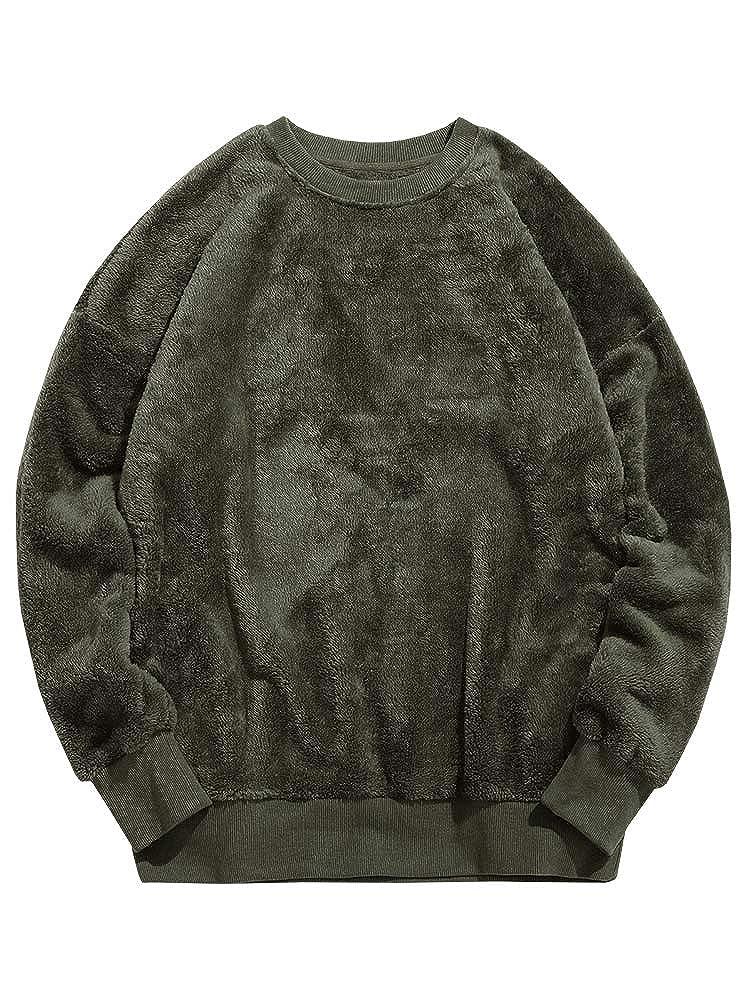 d4d4da74a Gtealife Mens Sherpa Pullover Fluffy Solid Sweatshirt Crewneck ...