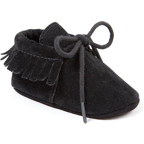b9c9cd3a3b0f2 Baby Boys Girls Moccasins Soft Sole Tassels Prewalker Anti-Slip Shoes