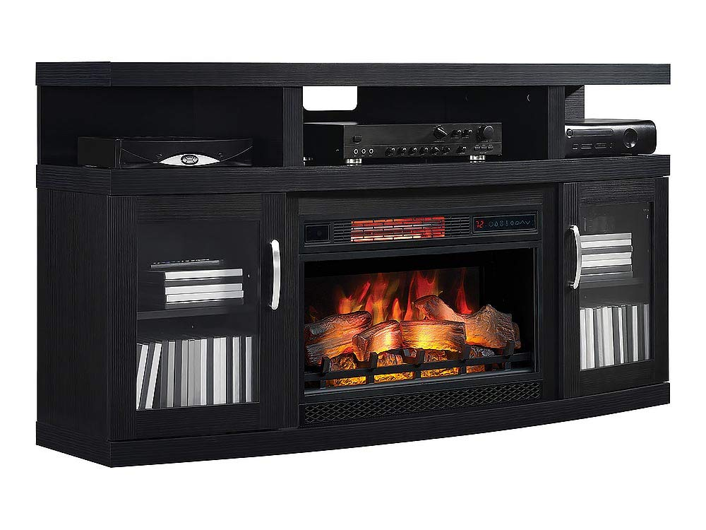Amazon Com Cantilever Infrared Electric Fireplace Media Cabinet