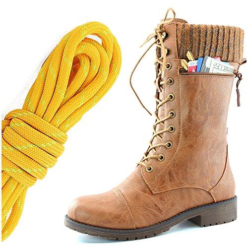 Dailyshoes Womens Combat Stijl Lace Up Enkel Bootie Ronde Neus Militaire Knit Creditcard Mes Geld Portemonnee Pocket Laarzen, Mandarijn Lime Tan Pu