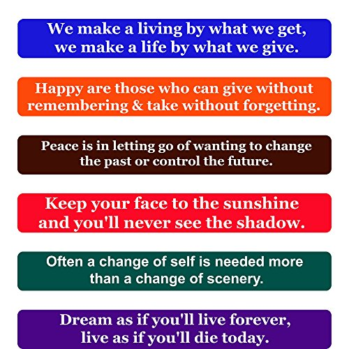 Happiness Refrigerator Magnet - Happiness Quotes Fridge Magnets- Inspirational Words & Motivational Quotes Magnet Set -The Perfect Gift to Inspire Happiness in Others, Set of 6 Individual Quote Magnets by Home & Beyond