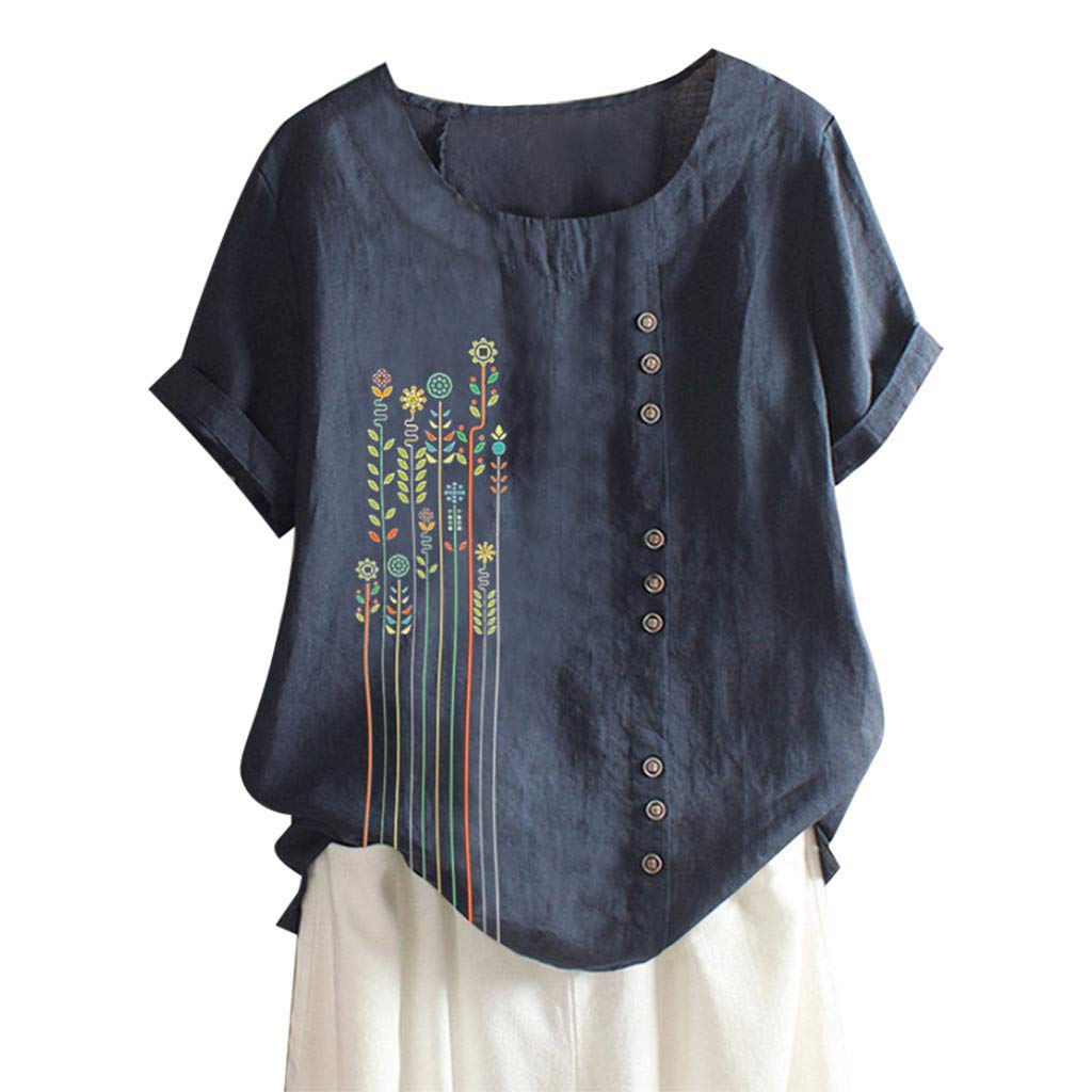 Zegeey Women Plus Size Oversized Floral Lace Embroidery Print Solid V-Neck Linen Long Sleeve Loose Baggy Tops T Shirt Blouse