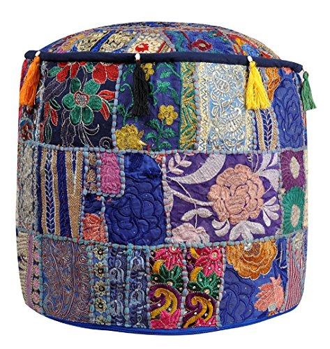 Cotton Round Ottoman (Indian Vintage Patchwork Ottoman Pouf , Indian Living Room Ottoman Pouf Cover, Foot Stool Storage Cover, Round Ottoman Cover Pouf, Floor Pillow Ottoman Poof Cotton Cushion Ottoman Cover)