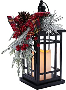 "Dasam Christmas Lighted Candle Lantern Wish Wind Lamp Decor LED Candle Flame Light Hanging Lantern for Indoor Outdoor LED Candle Metal Lamp Decoration Festival Gift Light 14"" Tall"
