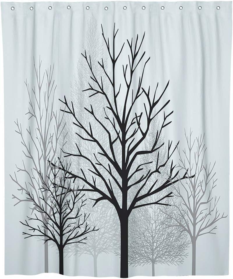 SUMGAR 180 x 180 cm Cortinas de ba/ño de color amarillo y gris con 12 anillas de cortina blancas