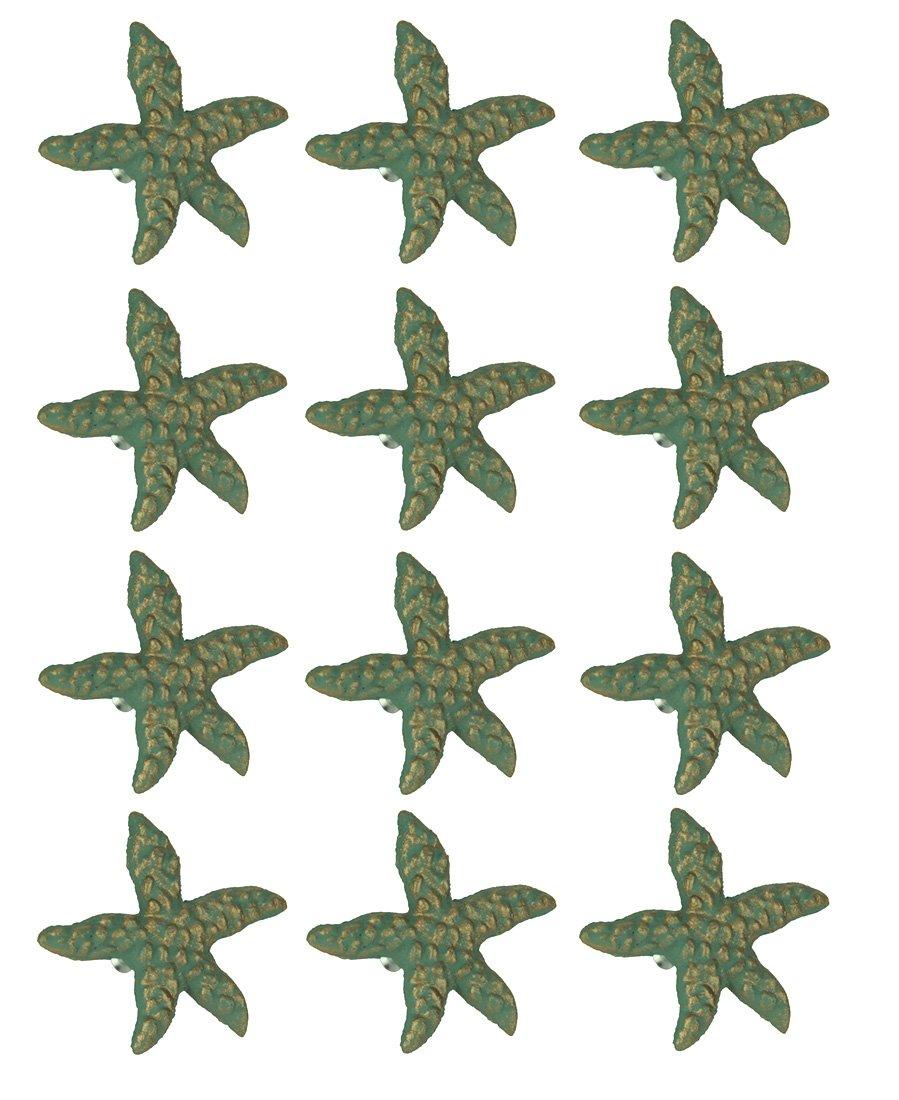 Chesapeake Bay Green Verdigris Cast Iron Starfish Drawer Pull Set of 12