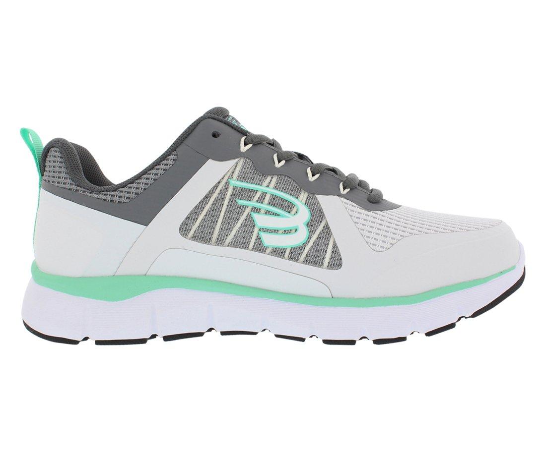 Spira CloudWalker Women's Athletic Walking Shoe with Springs B07B9P85SC 8 B(M) US White/Grey/Mint