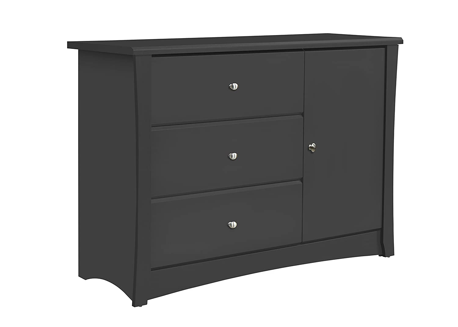 Storkcraft Crescent 4 Drawer Chest, Grey Kids Bedroom Dresser with 4 Drawers, Wood & Composite Construction, Ideal for Nursery, Toddlers Room, Kids Room Stork Craft 03664-30G