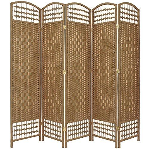 ORIENTAL FURNITURE 5 1/2 ft. Tall Fiber Weave Room Divider - Natural - 5 Panel