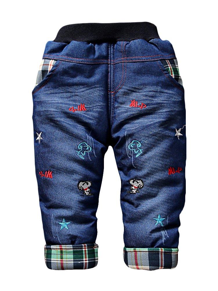 LaoZan Unisex Bambini Pantaloni Imbottiti Lungo Del Denim Dei Jeans Mutanda Casuale Pull Up Elastico Regolabile