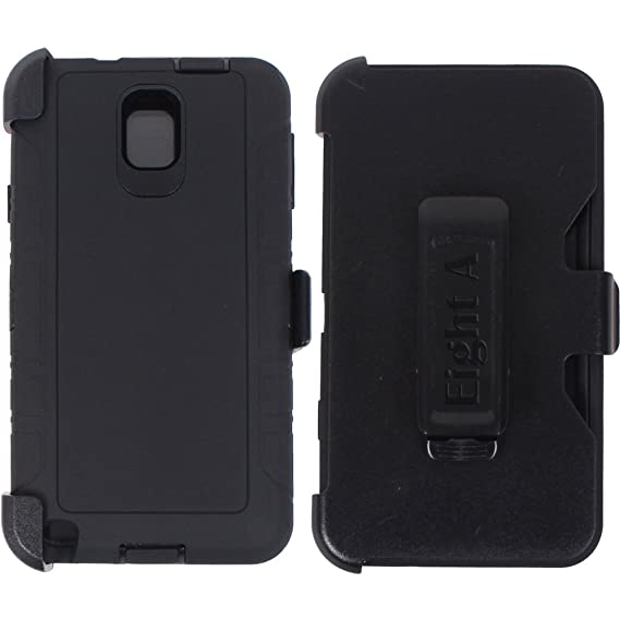 timeless design c3d90 b4d6d Heavy Duty Defender Rugged with Built-in Screen Protector and Clip Case  Cover for Samsung Galaxy Note 3 (Black)
