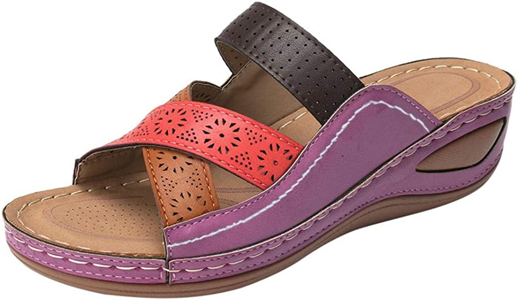 Sandales Femme été Couture Douce Plage en Plein air Vacances Chaussures de Sport Violet
