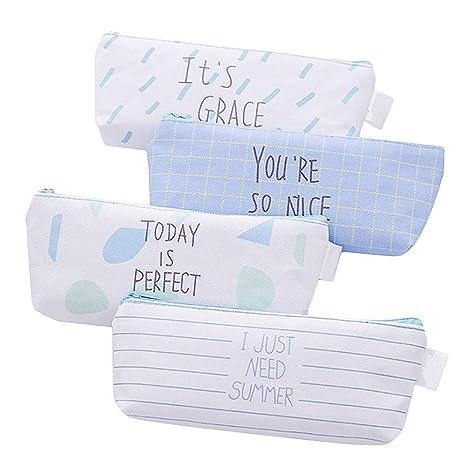 Hosaire 4 Piezas Caja de Escritorio Estuches Lápices Bolsa de Lápices Plumas Bolígrafos Material Lienzo para Escolar Papelería Escuela Banda Elástica