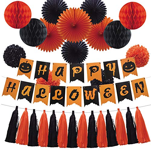 Halloween Party Decoration Set, Paper Banner Honeycomb Balls Hanging Fans Tissue Paper Pom Poms Flowers Tassels Hanging Garland for Halloween Party Birthday Event Decorations Black Orange 35pcs