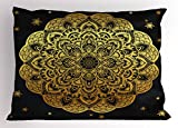 Lunarable Mandala Pillow Sham, Hand Drawn Floral Mandala Ethnic Tattoo Art with Stars Yoga Meditation, Decorative Standard Queen Size Printed Pillowcase, 30 X 20 inches, Indigo Pale Yellow