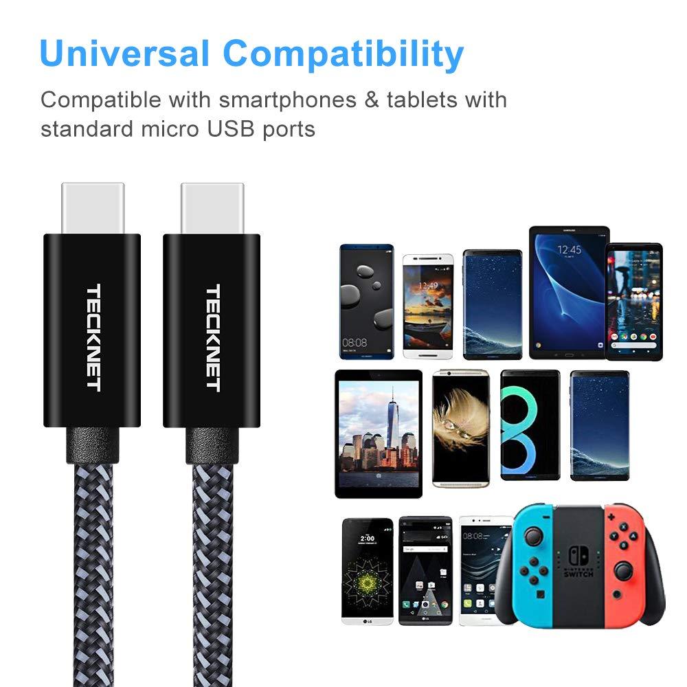 TeckNet Carga de Cable Micro USB Micro USB Cable 0.1M - GARANT/ÍA DE por Vida 2.4A Micro Cable USB para Cargar Dispositivos Android 3 Pack Galaxy Sony TCL Nexus y M/ás