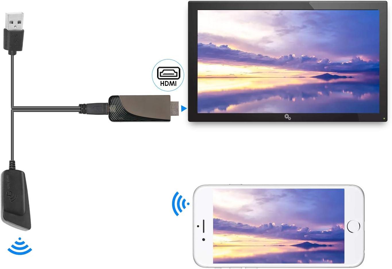 Windows Mac OS Ordinateurs Portables /à TV Projecteur Moniteur tablettes Adaptateur daffichage sans Fil Dongle R/écepteur 5G//2.4G HDMI /Écran Adaptateur pour Smartphones iOS Android