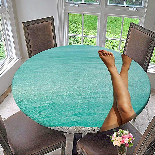 Mikihome The Round Table Cloth Woman's Legs at Beach Jetty for Birthday Party, Graduation Party 50
