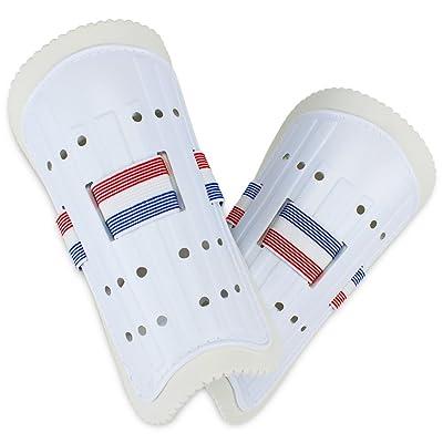 K-Roo Sports Youth Plastique Protège-tibias avec mousse souple et sangles réglables, Blanc
