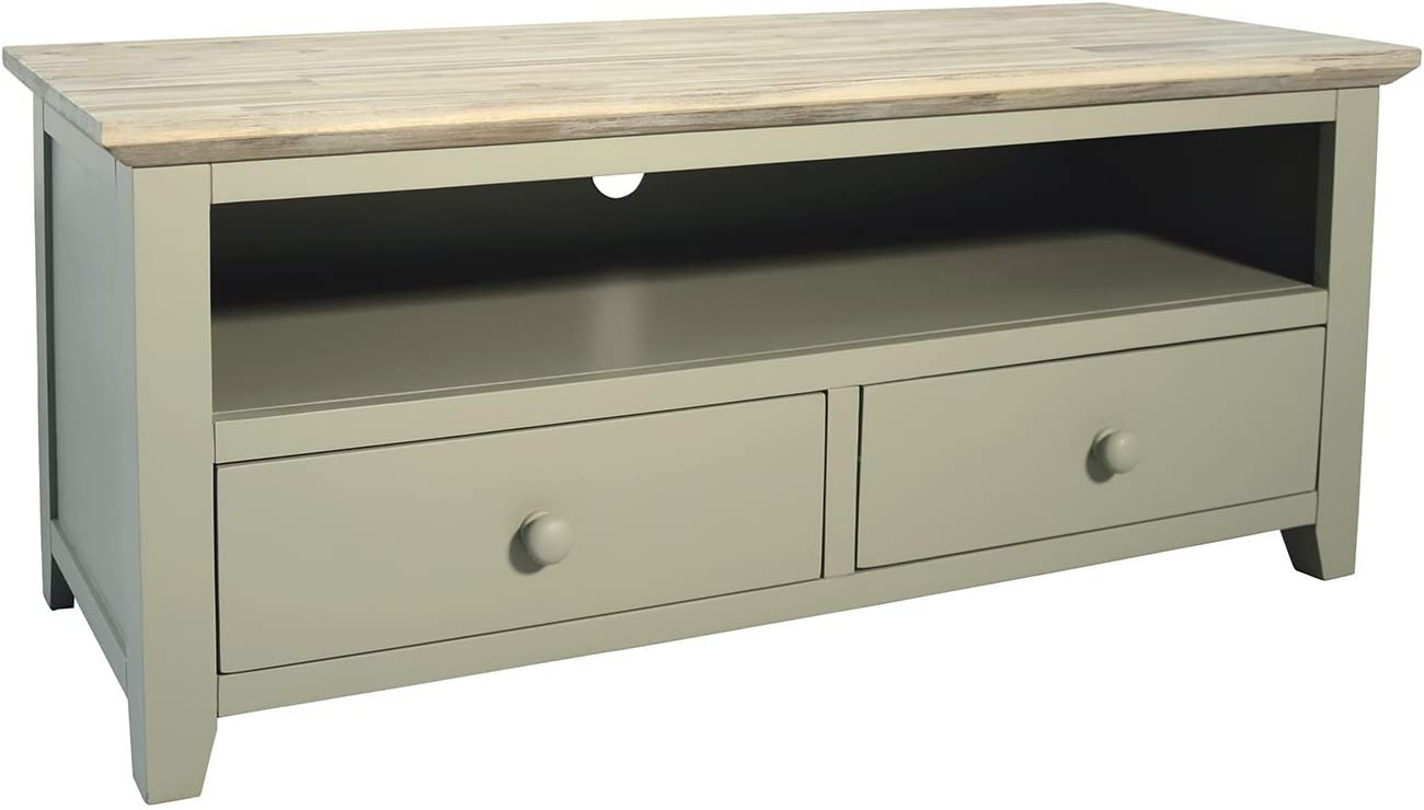 Florence Navy Blue TV unit with shelf and 2 drawers. Quality TV stand with storage. FULLY ASSEMBLED Sage Green