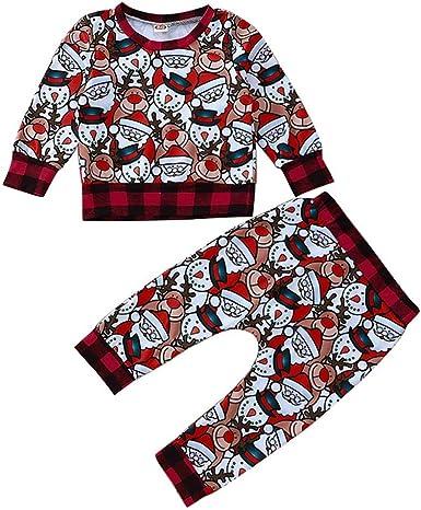 puseky 2 Piezas bebés bebés niños niñas Trajes de Navidad Camisa a Cuadros + Pantalones Pijamas de Navidad Conjunto Manga: Amazon.es: Ropa y accesorios