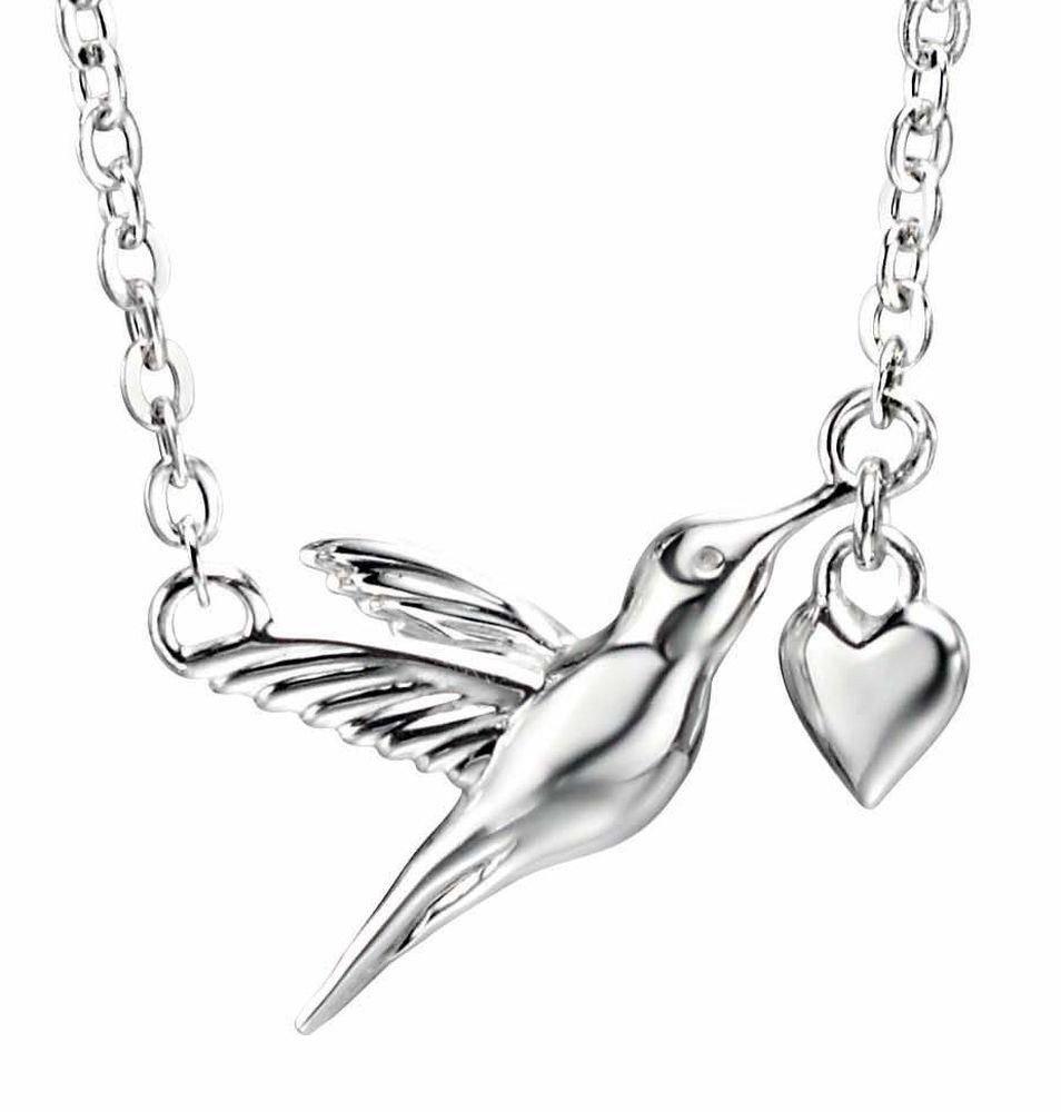 My-jewellery 925 Silver Hummingbird heart necklace 20'' – 51''