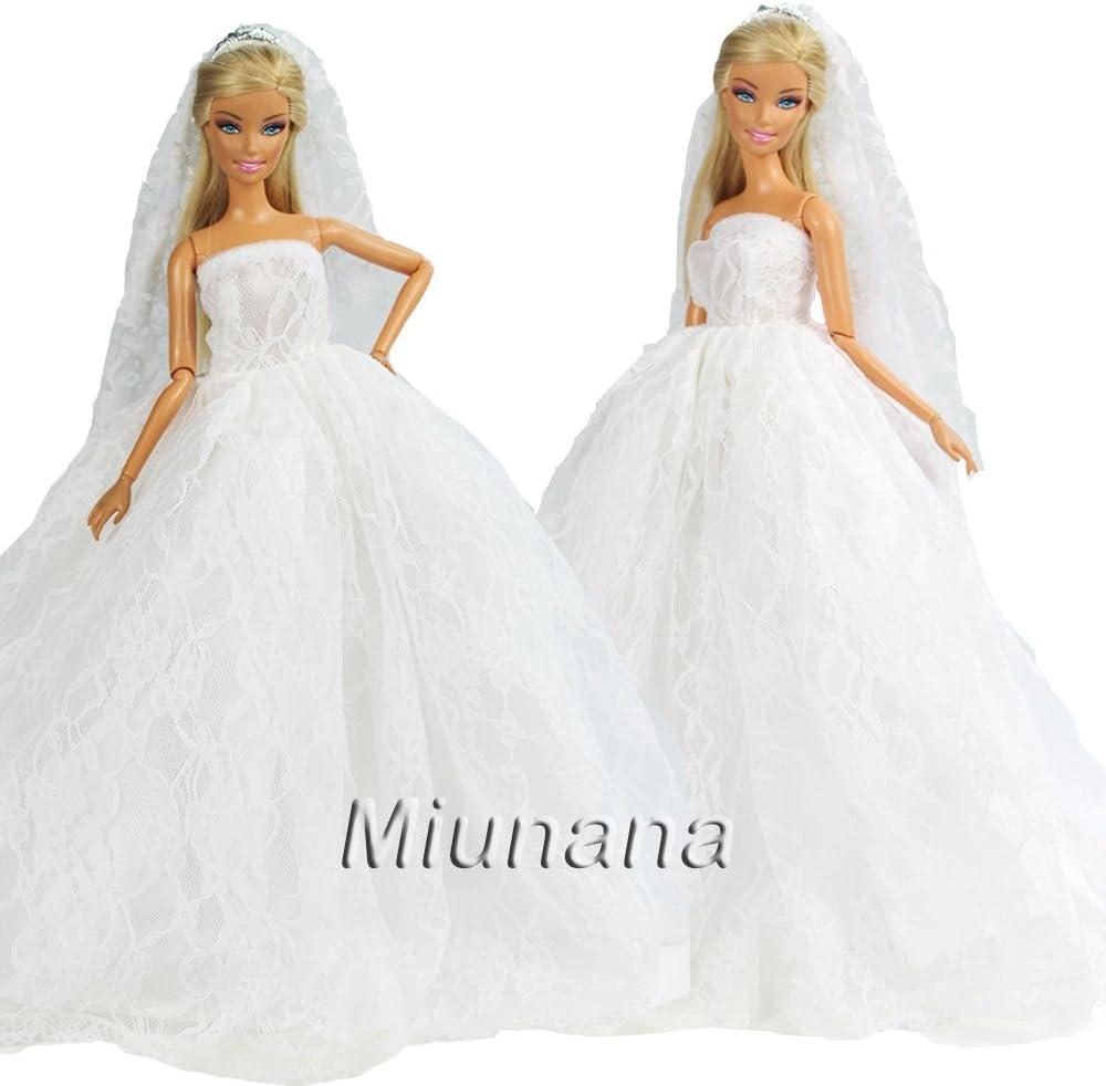 Amazon.es: Miunana 2X Trajes de Vestidos Novia Princesa Juegos Ropa Vestir Nupcial Ropa Fiesta Boda para Regalo de 11.5 Pulgadas 28 - 30 CM Muñeca: Juguetes y juegos
