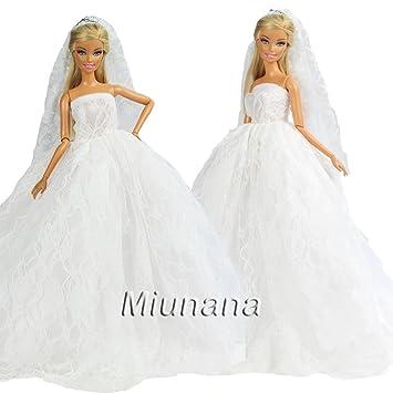 Miunana 1 Vestido Novia Ropa Vestir Boda + 1 Velo como Regalo para Muñeca Barbie Doll