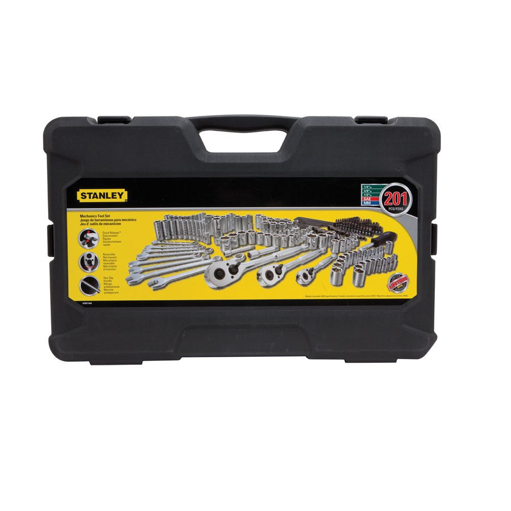 Socket Spanner Set 201-Piece Socket Set CR-V Socket Set Including Three Torque Wrenches 1//2 Inch 1//4 Inch 3//8 Inch Reversible Ratchets Including Accessories