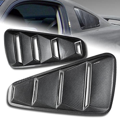 2005-2014 Ford Mustang 1/4 Quarter ABS Carbon Fiber Style Side Window Louvers Scoop Cover Vent