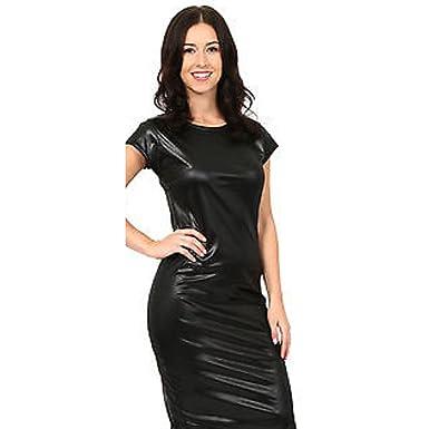 298b44b13e Womens Ladies Wet Look PVC Peplum Skater Midi Skirt Bodycon Dress Bodysuit  Legging Top  Amazon.co.uk  Clothing