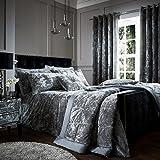 Catherine Lansfield Crushed Velvet Duvet Cover Bedding Set & Pillowcases - Silver Gray - UK King
