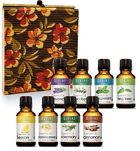 Aromatherapy Essential Oils Set for Diffuser Pure Therapeutic Grade - Gift Set of 8 10ml bottles - Lavender Peppermint Lemon Tea Tree Frankincense Cinnamon Eucalyptus Rosemary - Gifts for Women