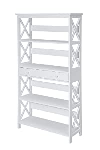 Convenience Concepts Oxford 5-Tier Bookcase with Drawer, White