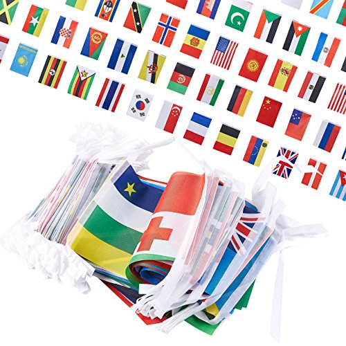 Juvale 250-Piece International Flags - 200-Feet Small Country Flags Banner of The World - Multi-Cultural Party Hanging Decorations, 150 Different Assorted Countries, 5.2 x 8.5 Inches]()