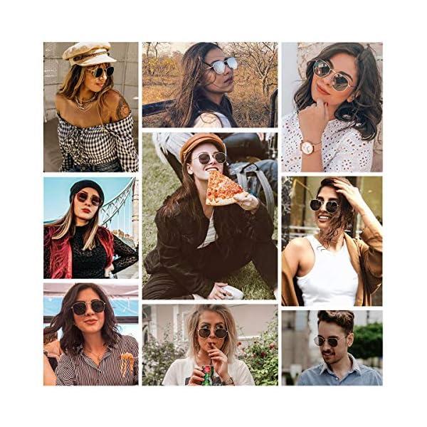 SOJOS Retro Vintage Specchio Polarizzate Lenti Poligono Protezione UV Occhiali da Sole SJ1072