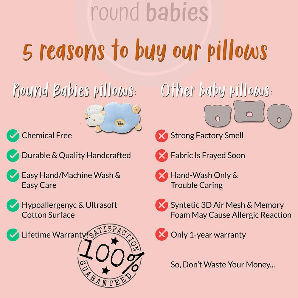 Breathable Ultra Soft Cotton /& Easy Machine Wash Naptime /& Diaper Changing Round Babies Flat Head Prevention Pillow for Sleeping Pink