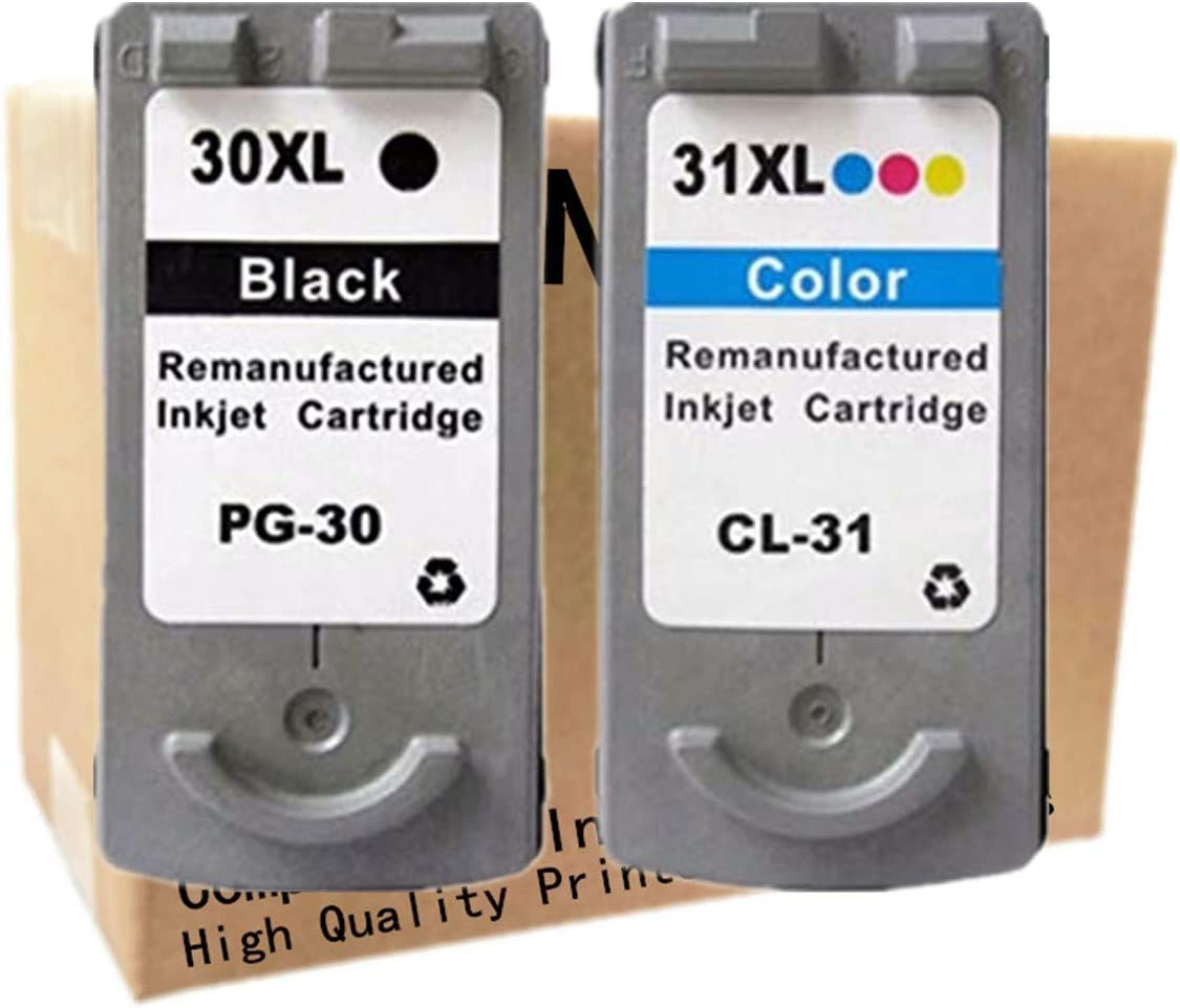 1 Black + 1 Tri-Color No-name Remanufactured Ink Cartridges Replacement for Canon PG-30 CL-31 PG 30 CL 31 PG30 CL31 PIXMA iP1800 iP2600 MP140 MP210 MP470 MX300 MX310 Inkjet Printer