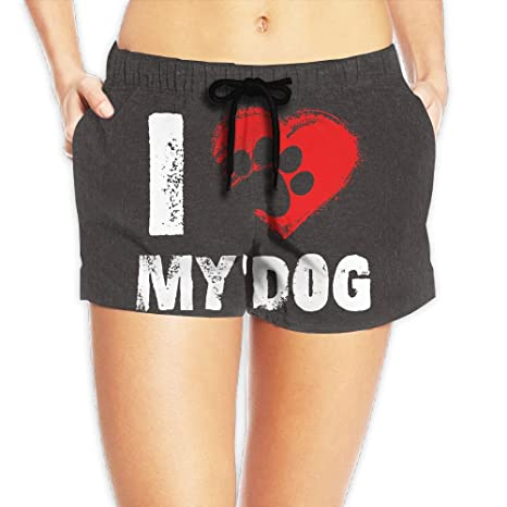 ff154c3a91bc Women s I Love My Dog Quick Dry Loose Fit High Waisted Beach Wear Shorts  Hot Pants