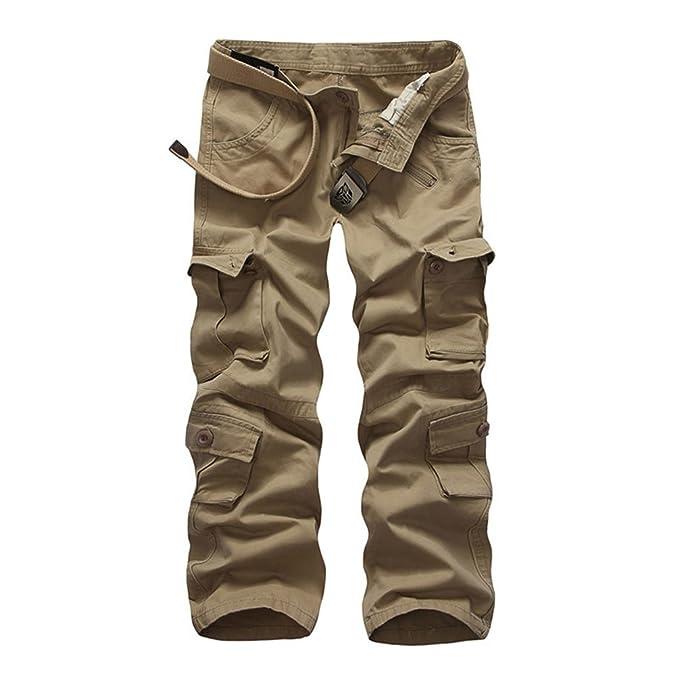 b6233fc4d3 ZKOO Uomo Cargo Jogger Pantaloni Pantalone Cotone Lungo Pantaloni da Lavoro  Militare Pantaloni Calzoni con Multi Tasche Uomini All'aperto