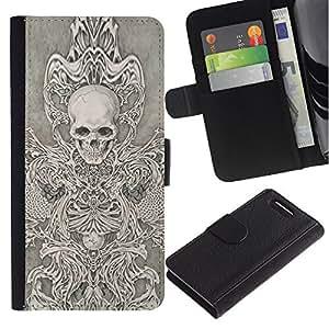 Be-Star la tarjeta de Crédito Slots PU Funda de cuero Monedero caso cubierta de piel Sony Xperia Z3 Compact ( Skull Throne Anger Abstract Metal )