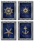 nautical theme decor Beautiful Gold and Blue Chevron Inspirational Nautical Prints; Four 8x10in Poster Prints
