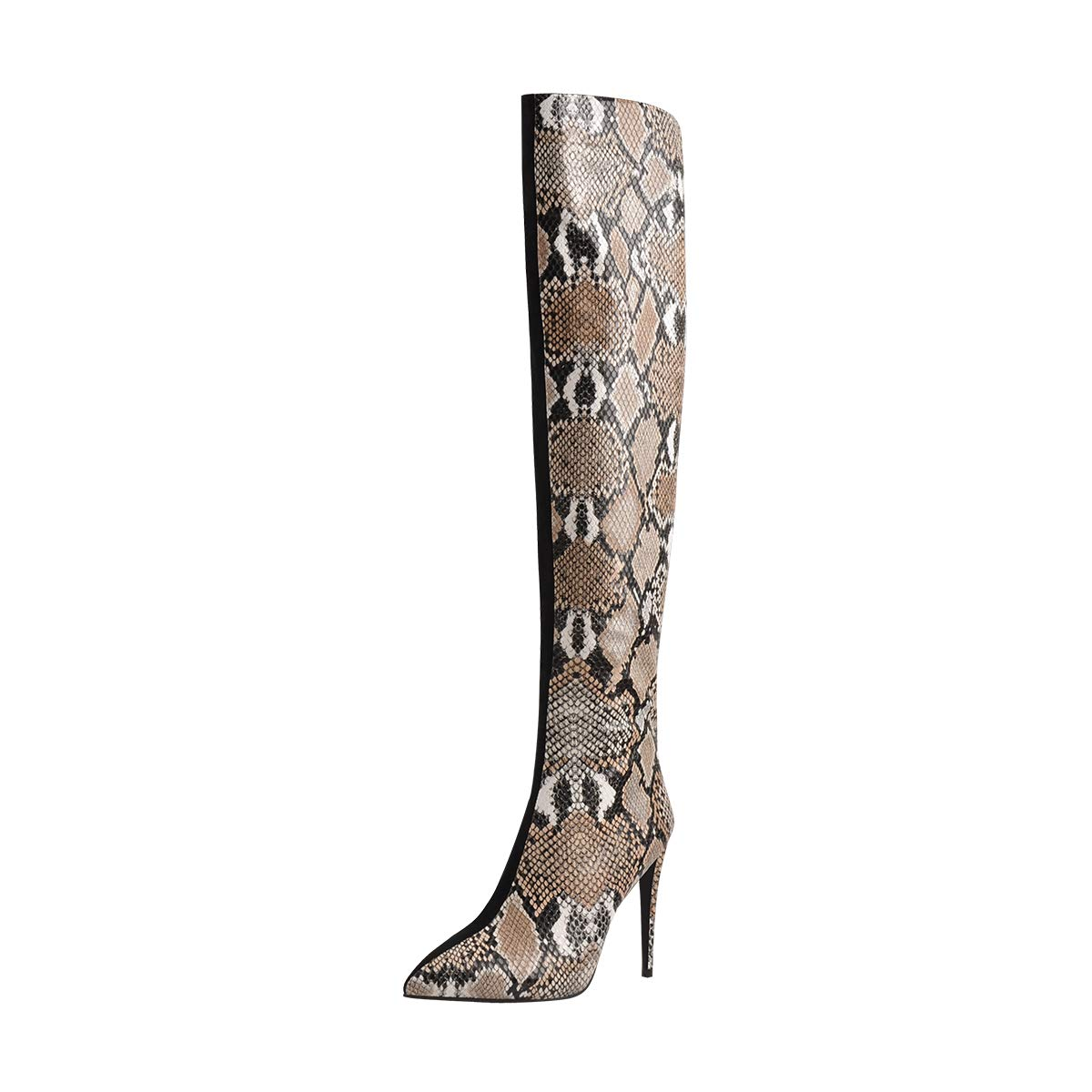Onlymaker Women's Snake Print Patchwork Pointed Toe Stiletto Heel Two Toned Side Zipper Over The Knee High Boots US 8 Black by Onlymaker