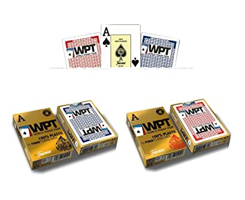Outletdelocio. Pack 2 barajas Fournier Poker World Tour WPT. 55 cartas. 100% plastico lavable. 1 roja y 1 azul. 2-54009