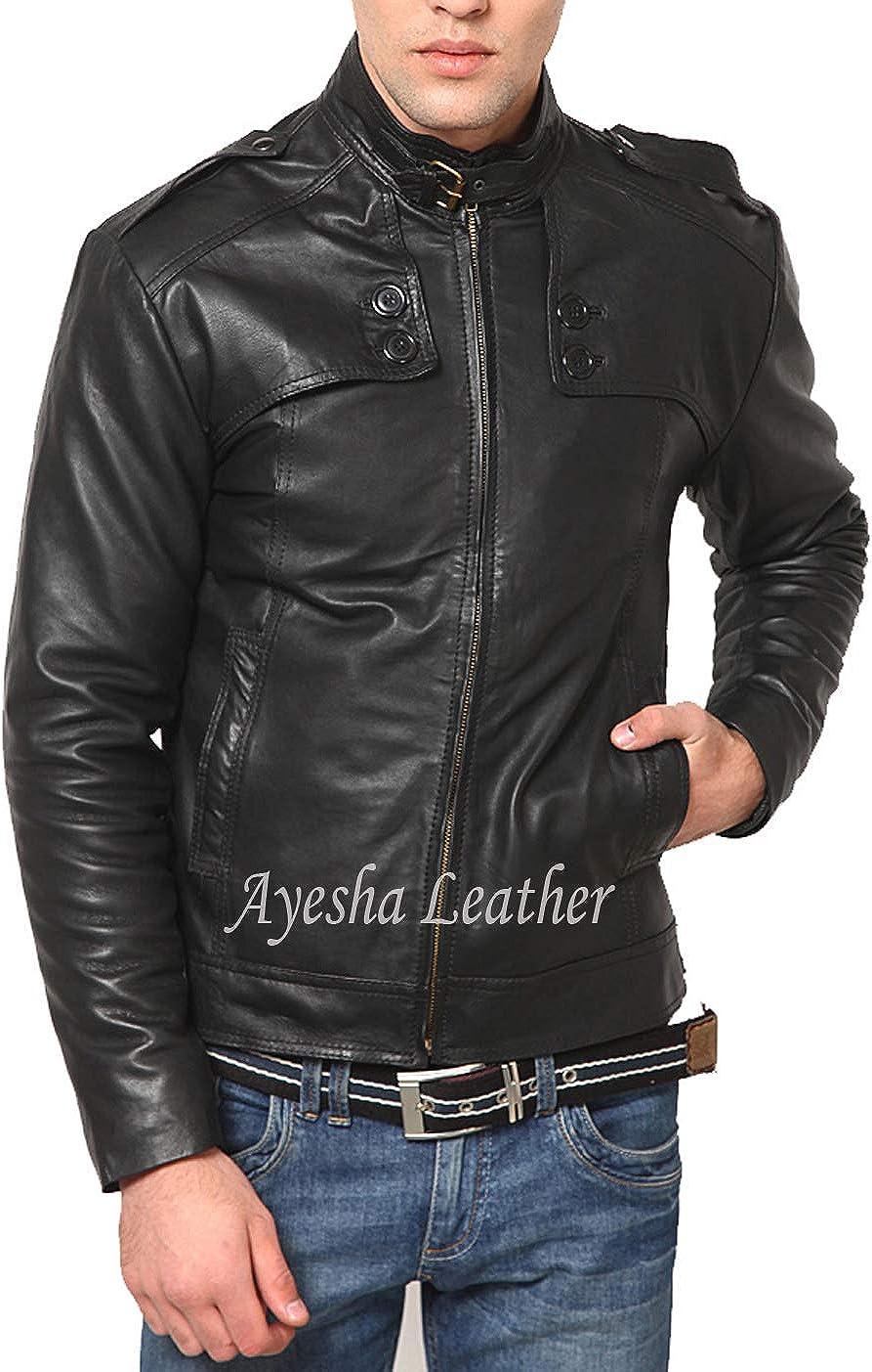 Ayesha Mens Leather Jackets Motorcycle Bomber Biker Genuine Lambskin 78