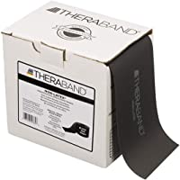 TheraBand Resistance Band 22m Roll, Special Heavy Black Non-Latex Professional Elastic Bands For Upper & Lower Body…