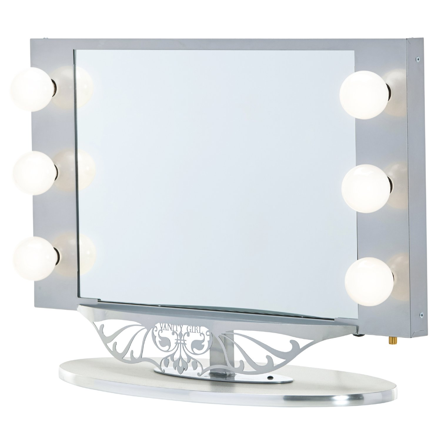 Silver Vanity Girl Starlet Lighted Vanity Mirror with Optic Glass and 6 Cosmetic Light Bulbs Around Frame