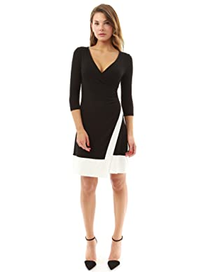 PattyBoutik Women's V Neck 3/4 Sleeve A-Line Wrap Dress (Black and Ivory L)