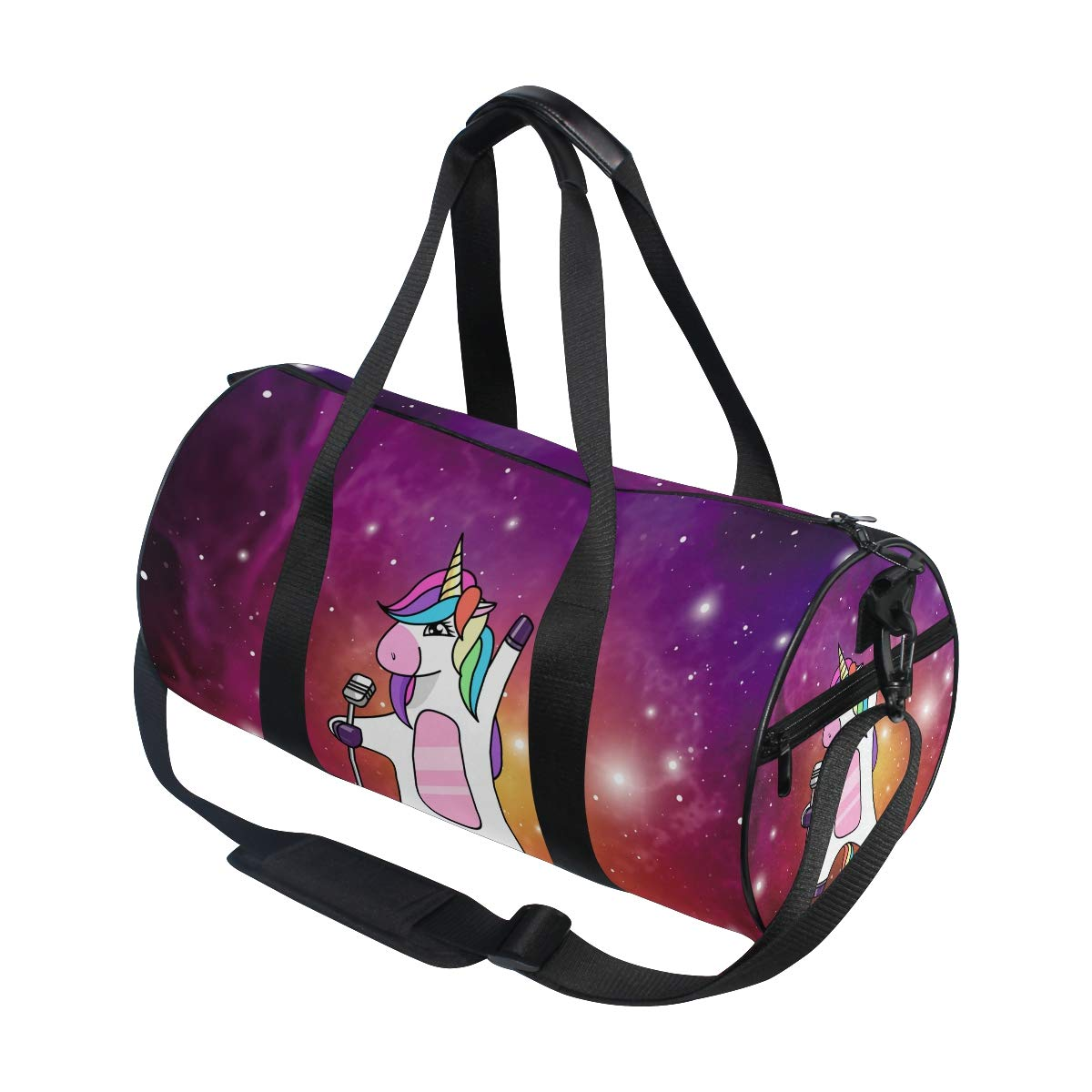 WIHVE Gym Duffel Bag Unicorn Dabbing Singing Galaxy Sports Lightweight Canvas Travel Luggage Bag