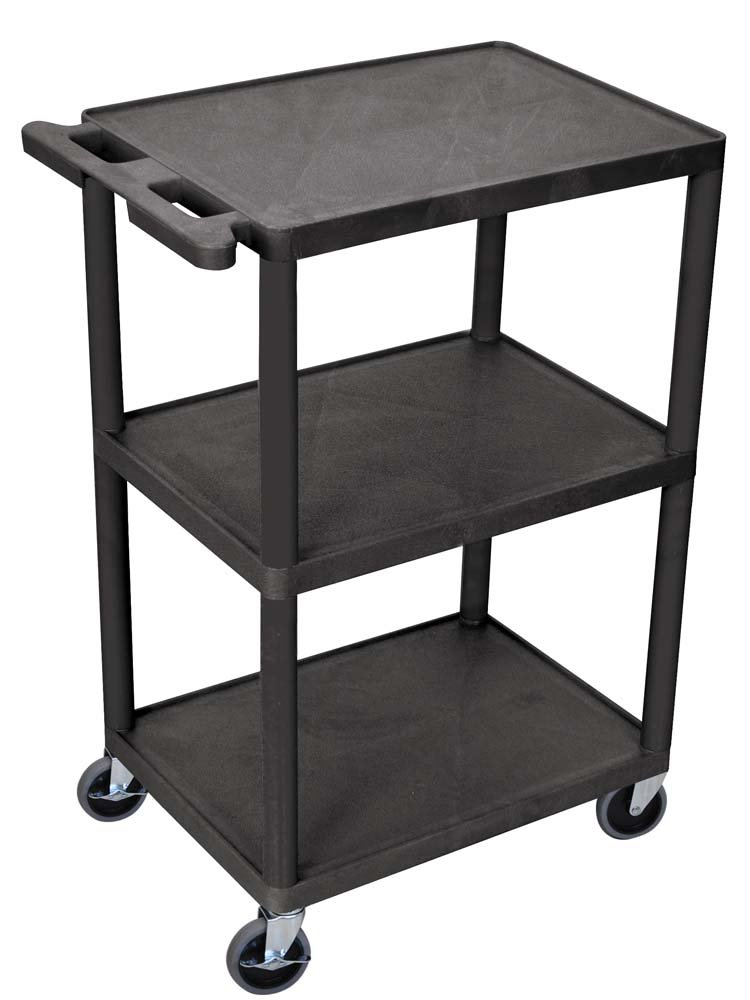 Luxor Multipurpose Three Shelves Structural Foam Plastic Storage Utility Cart – Black